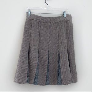 Taupe Tweed Mid Skirt with Blue Lace Detailing